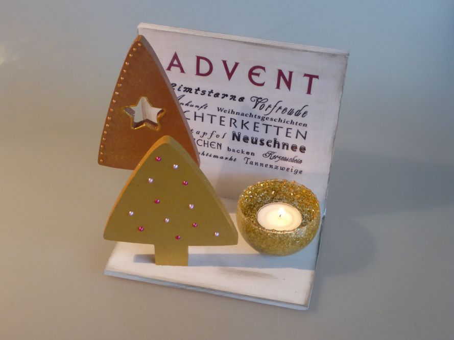 Adventsschild gold