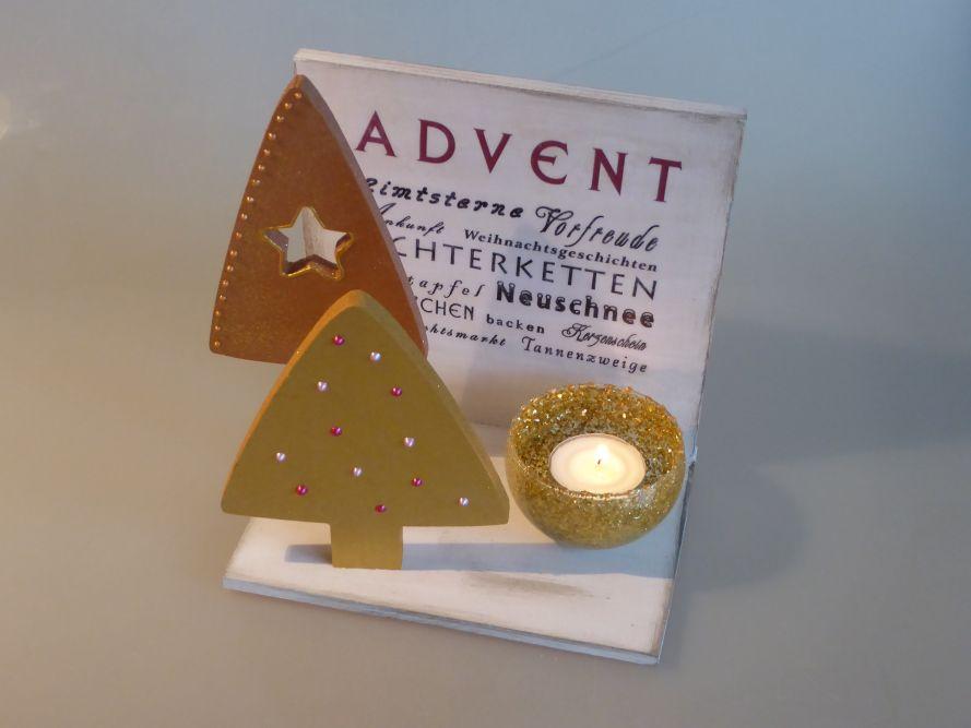 Adventsschild gold