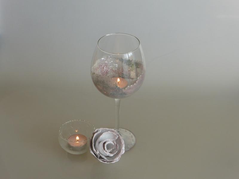 Glitzerweinglas